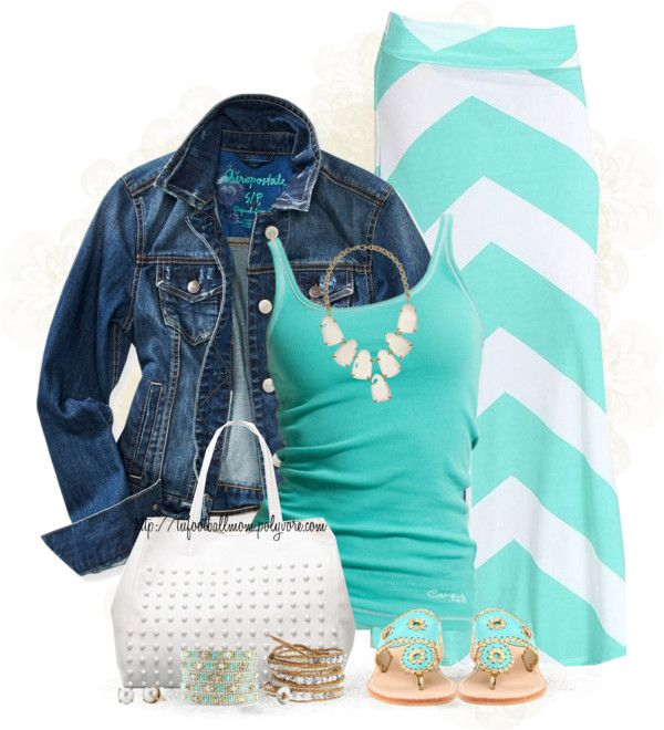 Turquoise Chevron Maxi Skirt Summer Stylish Outfit