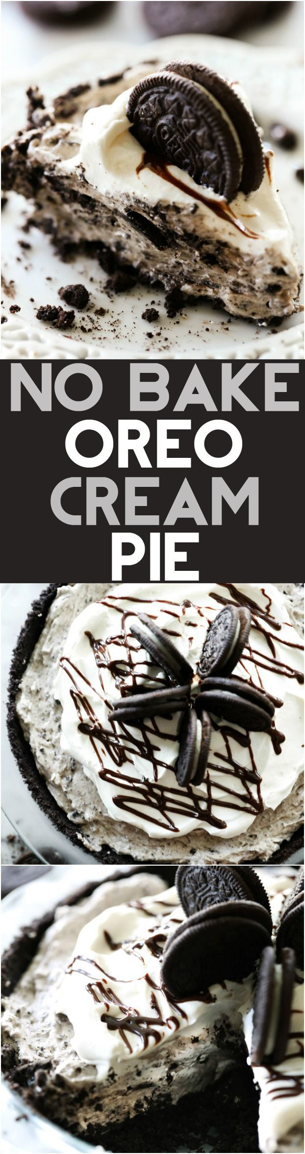 No Bake Oreo Cream Pie... This is such an amazing dessert with a delicious homemade Oreo crust and cookies and cream filling! It is my husband's FAVORITE dessert! (Baking Desserts Easy)