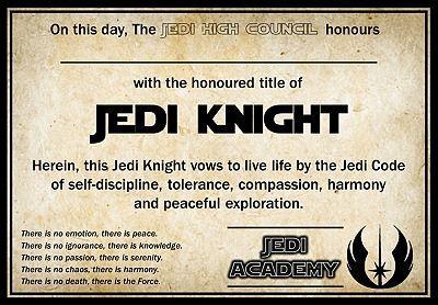 Jedi training academy graduation certificate printable