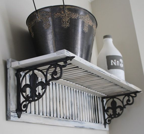 Decorative Fleur de Lis Shutter Shelf, Mother's Day or Wedding Gift! Hand made salvaged material Shabby Chic, Rustic, French Country Decor