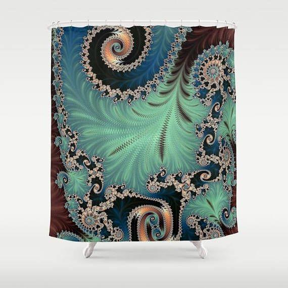 Mint Green Blue Shower Curtain Fractal Bathroom Decor Mandelbrot Infinity Home Sacred Geometry Boho Design