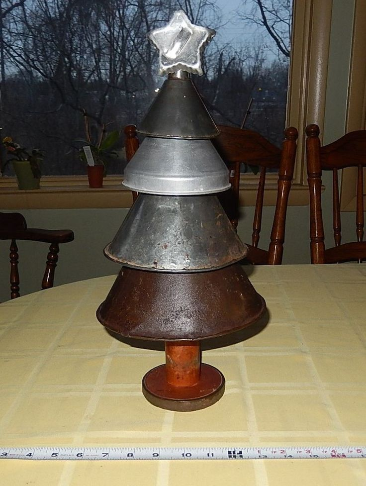 Primitive Metal Funnel Christmas Tree w VTG Cookie Cutter Star & OLD Wood Spool #NaivePrimitive