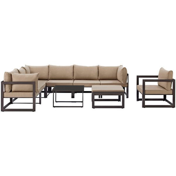 Modway Furniture Fortuna 9 Piece Outdoor Patio Sectional Sofa Set... ($1,653) ❤ liked on Polyvore featuring home, outdoors, patio furniture, outdoor furniture, brown sectional, brown sofa set, outdoors patio furniture and outdoor sectional