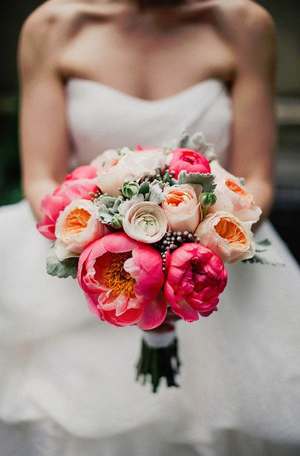 Wedding Bouquet Coral Peonies
