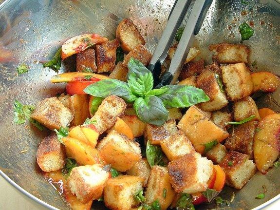 peach-basil-balsamic panzanella   balsamic dijon vinaigrette