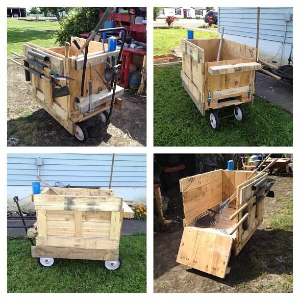 Garden cart made from half pallets/.Crafts Pallets, Euroalus Käru, Half Pallets Pin, Pallets Garden, Käru Kast, 612 612 Pixel, Pallets Ideas, Gardens Pl, Gardens Carts