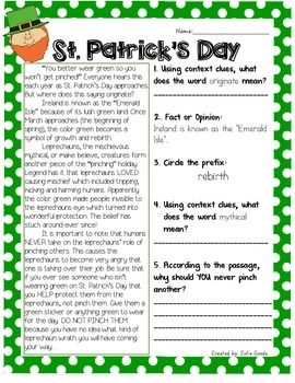 Fifth Grade St. Patrick's Day Worksheets and Printables