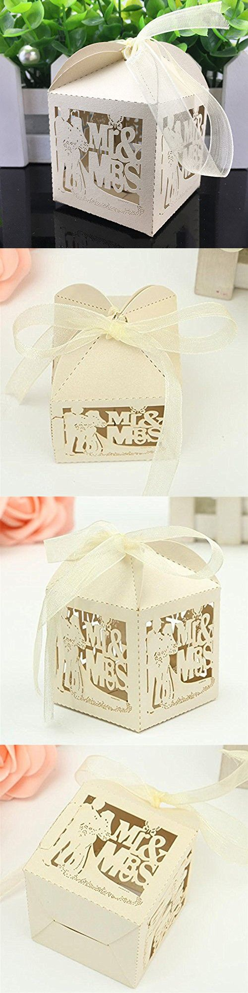 PONATIA 50pcs/Lot Mr & Mrs Wedding Candy Box Sweets Gift Favor Boxes With Ribbon Party Event Decoration (Beige)