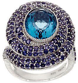 Judith Ripka Sterling Swirl of Pave' Iolite & Florite Ring