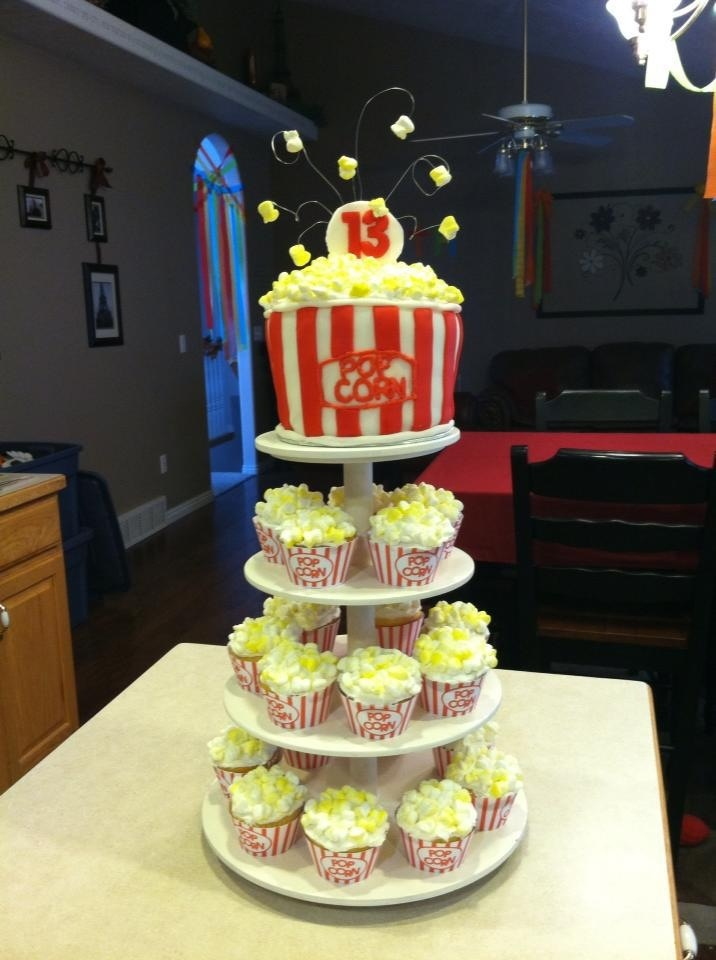 For my girl's birthday we had a movie night theme party. This is the cake my wife made. The popcorn is cut marshmallows with colouring.