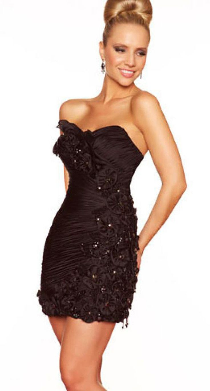 New Mac Duggal 61061 Black Beaded Accent Prom Cocktail Homecoming Mini Dress