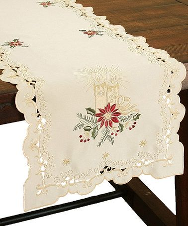 Look at this #zulilyfind! Golden Glow Embroidered Cutwork Christmas Table Runner #zulilyfinds