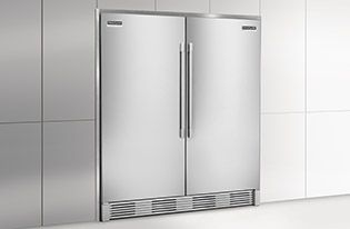 """Frigidaire Professional all fridge next to all freezer.  Each has  a dimension of 32 wide 26.5 deep 71 3/8 tall for a total width of 64"""" or 5.33 feet."""