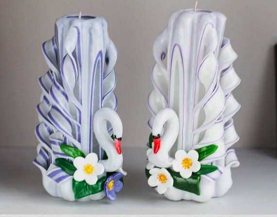 Unity Candle Light Purple White Carved Candle Set Swans For Gift