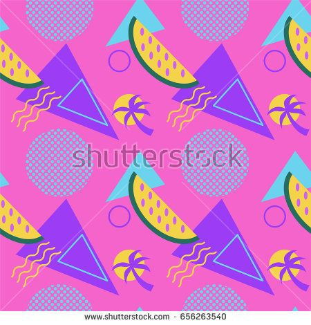 Seamless color summer patterns with watermelons and palms, geometric shapes, fashion vector backgrounds with fruits