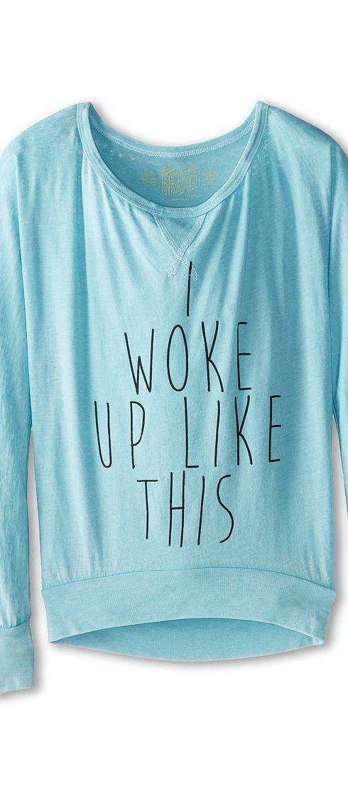 The Original Retro Brand Kids I Woke Up Like This (Big Kids) (Light Blue) Girl's Long Sleeve Pullover - The Original Retro Brand Kids, I Woke Up Like This (Big Kids), RB1855G-RTF1451A-402, Apparel Top Long Sleeve Pullover, Long Sleeve Pullover, Top, Apparel, Clothes Clothing, Gift, - Fashion Ideas To Inspire
