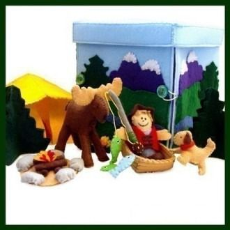 Moose Creek Camp - Felt Toys | YouCanMakeThis.com box opens out to make the scene