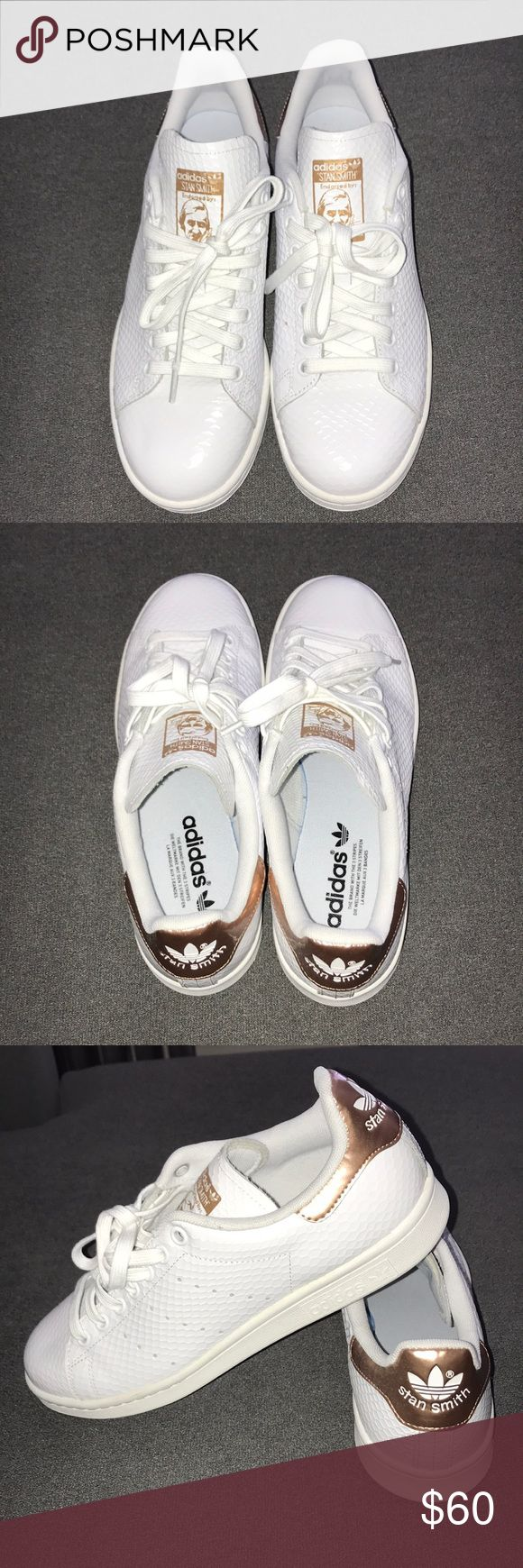 Adidas Stan Smith Sneakers Never worn, perfect condition, Adidas Stan Smith white snake skin and rose gold sneakers.  Runs 1/2 size big. adidas Shoes Sneakers