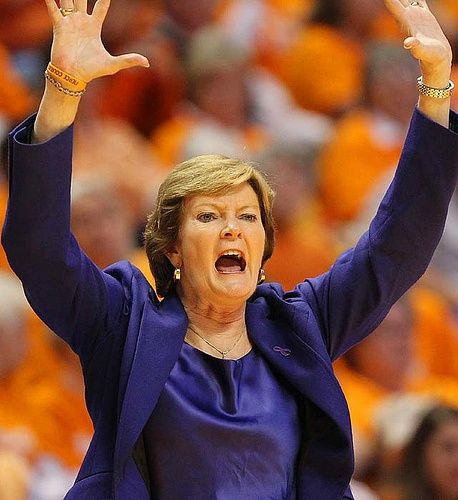 Pat Summit ~ former coach of Tennessee Lady Vols basketball team. She holds the most all-time wins for a coach in NCAA basketball history of either a men's or women's team in any division. She coached from 1974 to 2012, all with the Lady Vols, winning eight NCAA national championships