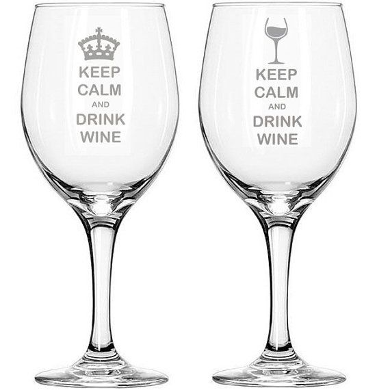 Keep Calm and Drink Wine Etched Engraved Novelty Wine Glass - Crown or Wine Glass Design on Etsy, $8.00