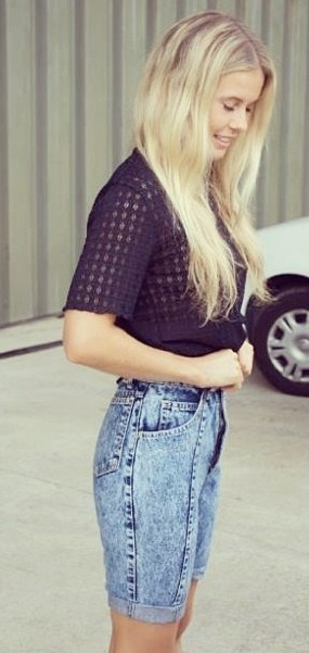 Our very own Brigitte Bardot BOST BABE Heather! @BOST LTD #vintage #denim #black #lace #fashion #BOSTLTD