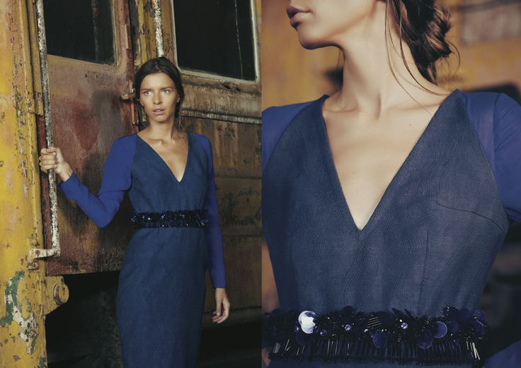 ANOUKI | Blue cotton dress with embroideries on the waist and chiffon long sleeves.