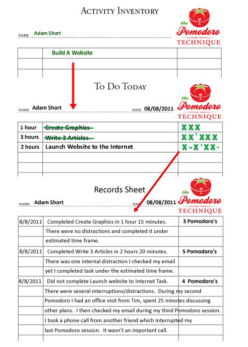 Pomodoro Productivity Sheets Completed