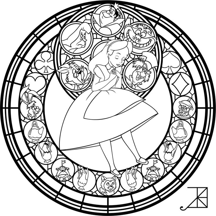 alice stained glass redo line art by akili amethystdeviantart adult coloringcoloring bookkids