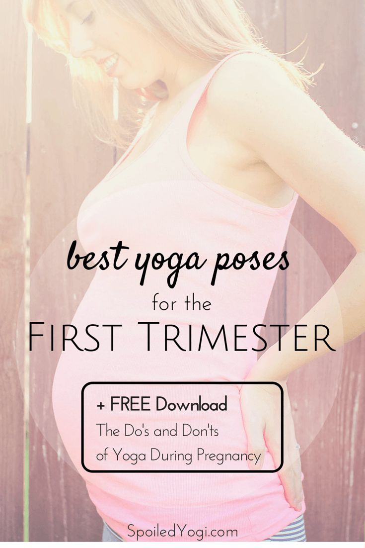 """Learn everything you need to know about practicing yoga during the first trimester of pregnancy. Plus click through to get a FREE Download 'The Do's and Don'ts of Yoga During Pregnancy"""" to learn what to do for all three trimesters.  