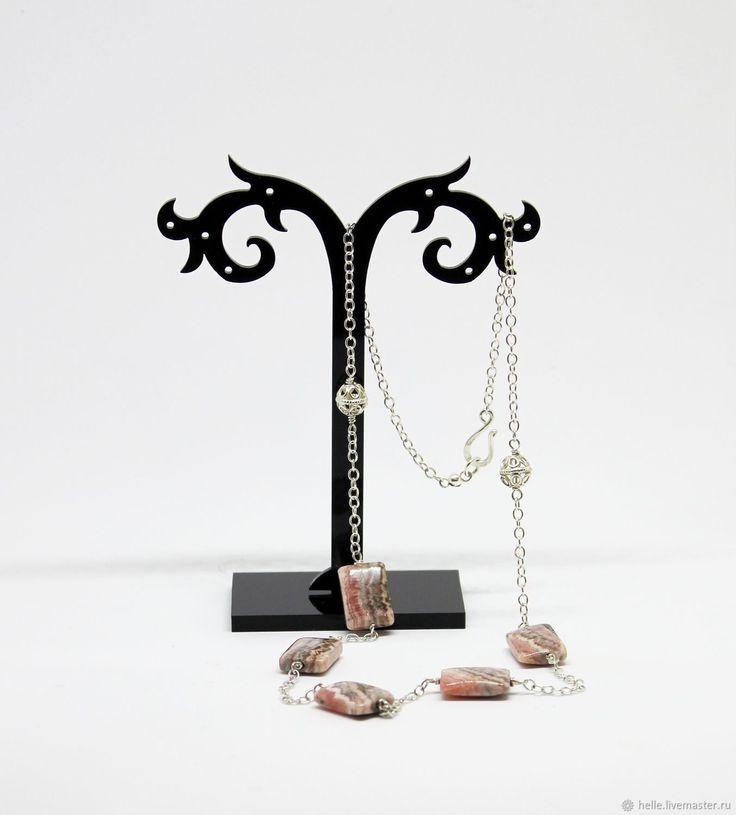 Купить Серебряное колье цепочка серебро 925 с родохрозитом - серебро 925, бледно-розовый