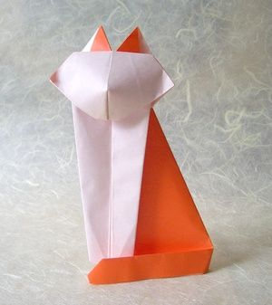 origami cat. This is Robert Lang's Dussledorf Cat. You'll have to get the directions from the internet. All three pages.