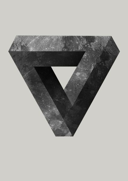 Lunar Art Print moon, triangle, penrose triangle, illusion, optical illusion, impossible, black and white, art, illustration, poster, t-shirt,