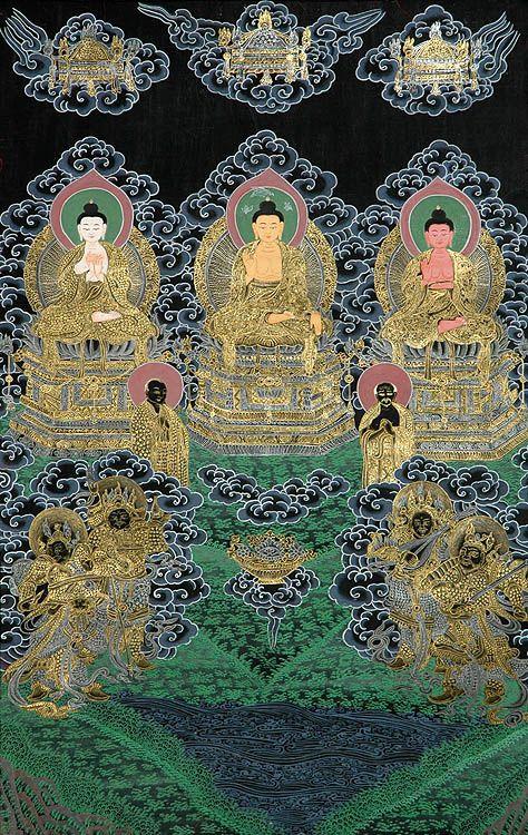 The Buddhas of the three times (past, present and future): Dipamkara Buddha, Sakyamuni Buddha, and Maitreya Buddha