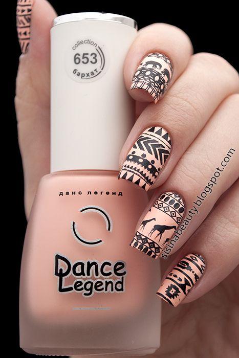 Stamping nail art, tribal Aztec print, giraffe, BP-L010