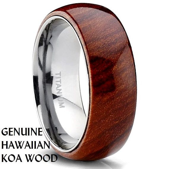 Anium Wedding Ring Band With Hawaiian Koa Wood Inlay Dome Comfort Fit Size 10 Supernatural Styl