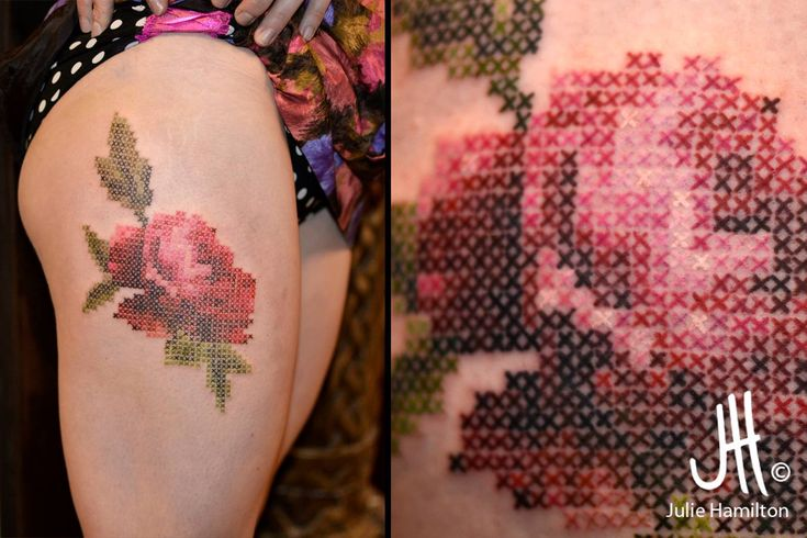 That's a cross stitched tattoo done right. credit to the artist:  Julie Hamilton • Art et Tatouage / Art & Tattoo - imgur.com
