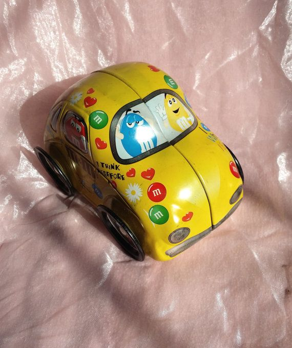 Vintage Rare M&M Candy Tin Car  VW Toy with Moving by HobbitsCache