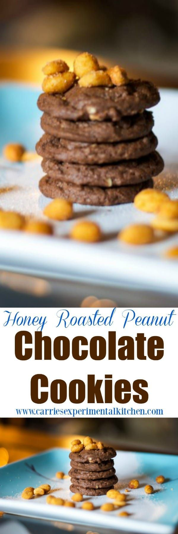 Are you looking for a sweet, salty, chocolatey snack? Try these Honey Roasted Peanut Chocolate Cookies. You won't be disappointed. #cookies #chocolate #peanuts