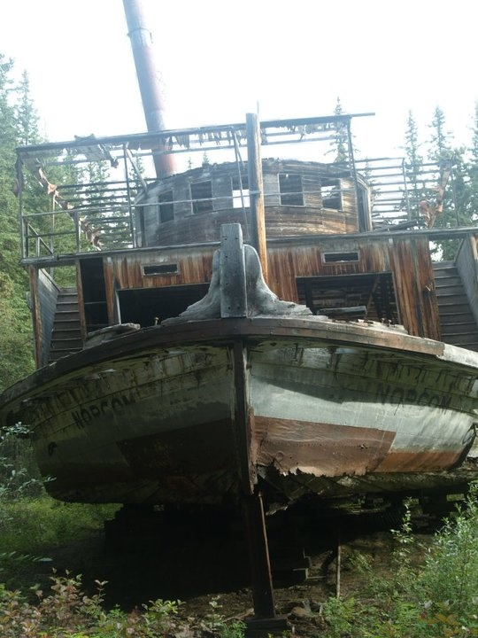 In 1922 the sternwheel paddler Evelyn (Norcom), was in a shipyard, her engines removed and she was left to deteriorate in the forest. Yukon River.