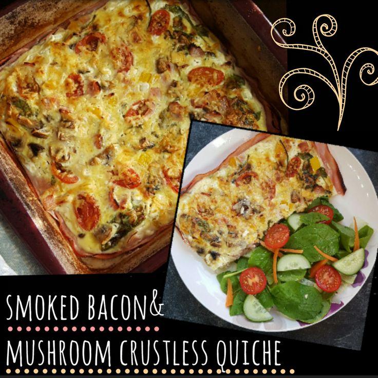 Smoked Bacon and Mushroom Crustless Quiche