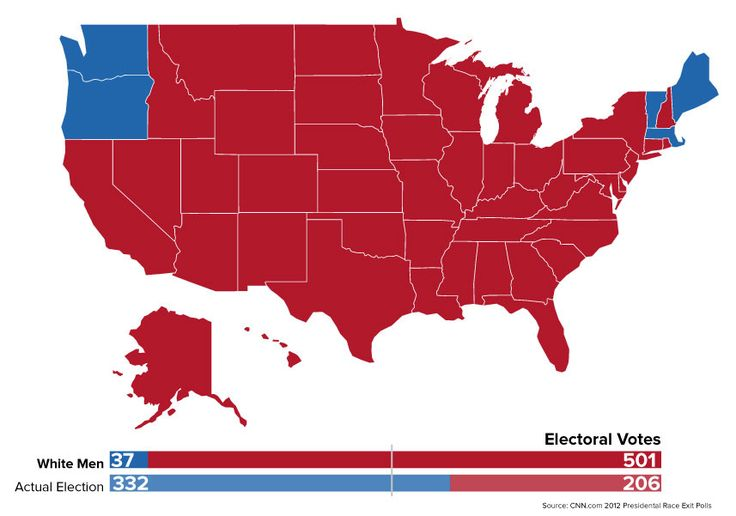 Map of what election would have looked like before 15th Amendment, when only white males could vote.