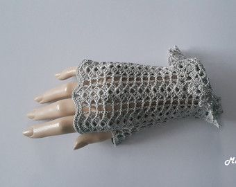 Gehaakte wanten vingerloze handschoenen wit 100% Mercerized