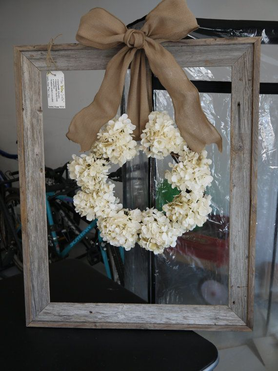 Hydrangea Wreath with Wooden Frame Darling wreath in a wooden window pane found at The Yellow Crate.  Love this!
