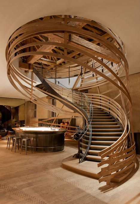 Fantastic looking Wooden staircase that gives the impression of being woven.