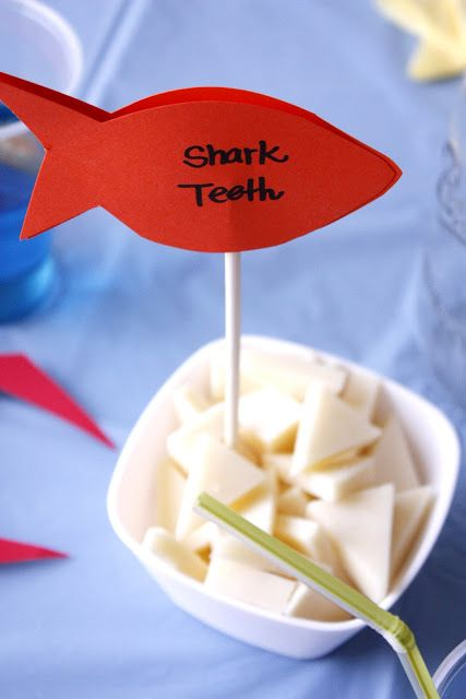 """Under the Sea Birthday Party - Part Two """"sharks teeth"""" out of cheese"""