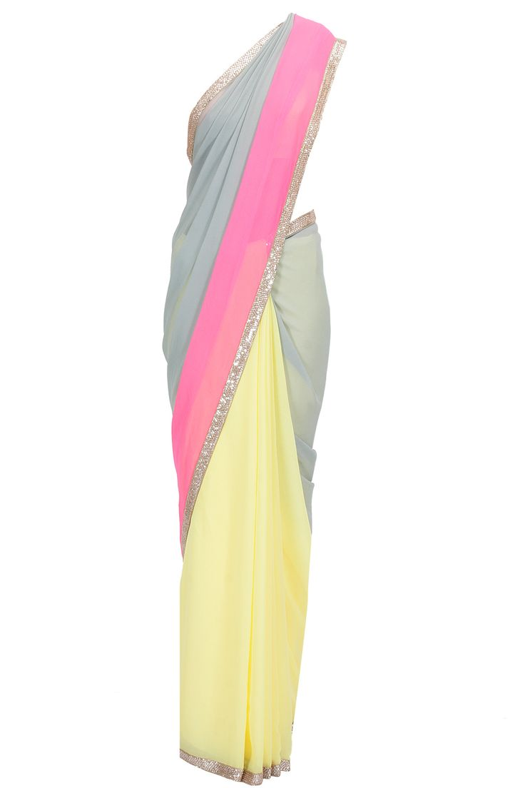 Tri colour kashmiri border sari with peach net blouse available only at Pernia's Pop-Up Shop.