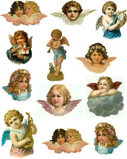 decoupage paper collage sheet angel die cuts harp horn pink blue wings musical stars