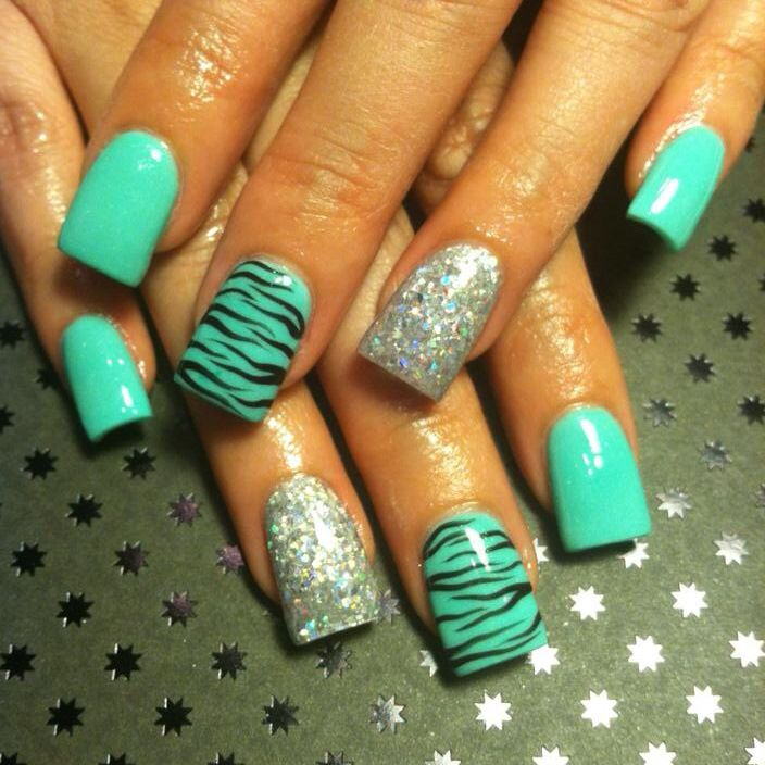 Aqua Zebra Silver Glitter Nails Nails Pinterest Glitter Aqua And Glitter Nails