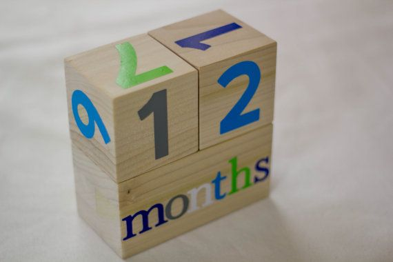 Wooden Age Blocks // Months Old // Maternity // Baby by Studio229