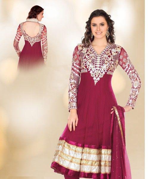 Bottle Green Net Lace MultiReshamStones Knee Length Salwar Suit - Imgur